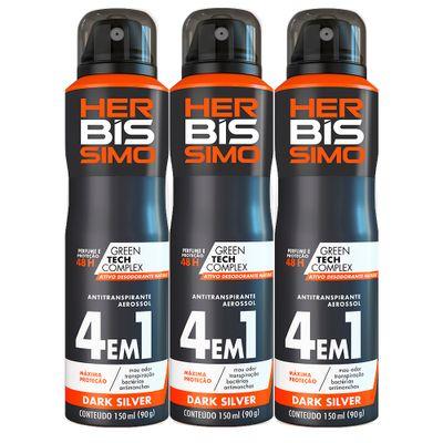 Kit-Desodorante-Aerosol-Antitranspirante-Herbissimo-Dark-Silver-150ml-com-3-unidades