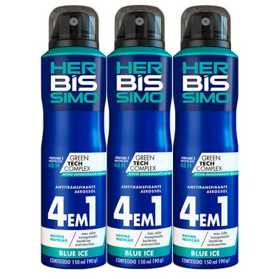 Kit-Desodorante-Aerosol-Antitranspirante-Herbissimo-Blue-Ice-150ml-com-3-unidades
