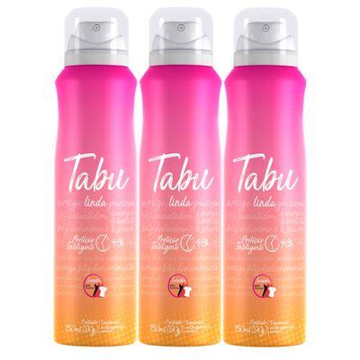 Kit-Desodorante-Aerosol-Antitranspirante-Tabu-Linda-150ml-com-3-unidades